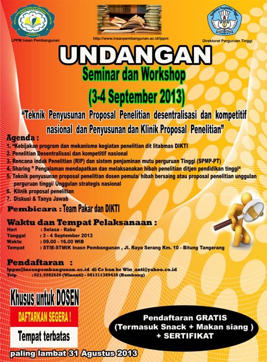undangan seminar & workshop  LPPM insan Pembangunan